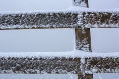 Wooden fence, snow and frost Royalty Free Stock Images