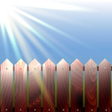 Wooden fence and sun's rays. The sun illuminates the f. Vector, wooden fence and sun's rays. The sun illuminates the fence Stock Illustration