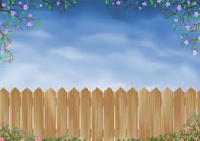 Wooden fence surrounded by flowers vector illustration