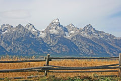 Wooden fence and Teton Range Royalty Free Stock Photography