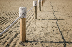 Wooden fence Tied with rope Stock Image