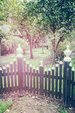 Wooden fence to backyard garden Stock Photo