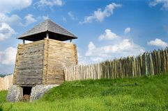 Wooden fence and tower. Ancient cossack wooden fence and tower. Zaporozhye. Ukraine. Island Hortitsa Stock Photos