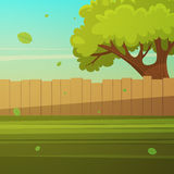 Wooden fence with tree. Cartoon illustration of the wooden fence with tree Royalty Free Stock Photos