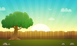 Wooden Fence With Tree royalty free illustration