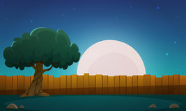 Wooden Fence With Tree At Night Time Royalty Free Stock Image