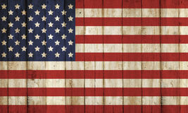 Wooden Fence With USA Flag Pattern Stock Photo