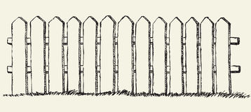 Wooden fence. Vector drawing Stock Photos