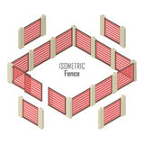 Wooden Fence Vector In Isometric Projection Stock Images
