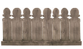 Wooden fence on white background. Horizontal front view of a wooden fence isolated on white background Royalty Free Stock Photo