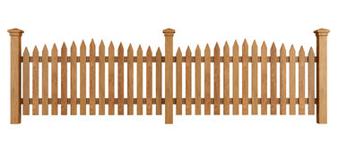 Wooden fence on white Stock Images