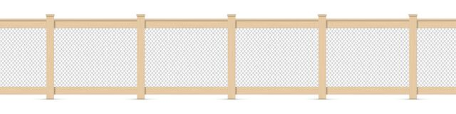 Free Wooden Fence With A Chain Mesh Fencing. 3D Realistic Vector Illustration Isolated On White Royalty Free Stock Photography - 217553057