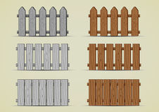 Wooden fences. Set of different grey and brown wooden fences Royalty Free Stock Photo