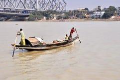 Wooden Ferry in Kolkata stock photo