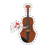 Wooden fiddle instrument note music dotted line. Illustration eps 10 Stock Image