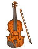 Wooden Fiddle or Violin with Fiddlestick Royalty Free Stock Photos