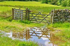 Wooden field gate reflected in puddle Stock Photos