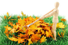 Wooden figure cleanup the garden from autumn leave Royalty Free Stock Photos