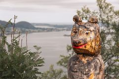 Wooden figure in the coast of Alesund. Norway royalty free stock photography