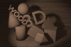 Wooden figure 3D. Stock Photography