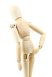 Wooden figure with joint pain on white background. Royalty Free Stock Photos