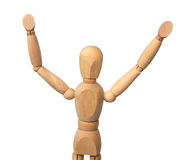 Wooden figure with the lifted hands. Royalty Free Stock Images