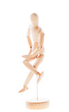 Wooden figure mannequin. Lointed wooden dummy isolated on white background royalty free stock photos