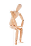 Wooden figure mannequin. Lointed wooden dummy isolated on white background royalty free stock images