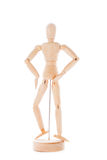 Wooden figure mannequin. Lointed wooden dummy isolated on white background stock photo