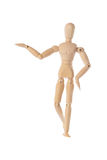Wooden figure raising arm. / hand and introduce Royalty Free Stock Photography