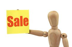 Wooden figure with sale Stock Photo
