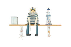 Wooden Figure of Salior Man or Captian isolated on white Royalty Free Stock Photography