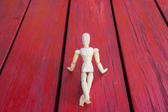 Wooden figure show and present. Wooden figure introduce thinking show and present stock photography