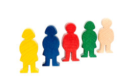 Wooden figures. Concept and metapher for people, man, women and childs Royalty Free Stock Photography