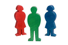 Wooden figures. Concept and metapher for people, man, women and childs Royalty Free Stock Photo
