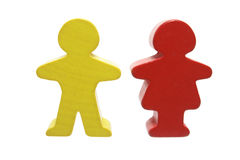 Wooden Figures. Standing on White Background royalty free stock photography