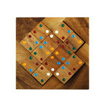 Wooden figures with color dots assemble in puzzle Stock Images