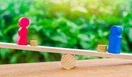 Wooden figures of a man and a woman stand on the scales and coins between them. concept of the gender pay gap. Income inequality. Balance royalty free stock image
