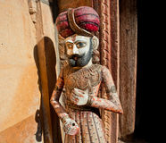 Wooden figures of Rajasthan man in turban Stock Photo