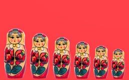 Wooden figures of Russian babushka stock photo