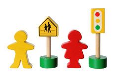 Wooden Figures with Traffic Lights Stock Photo