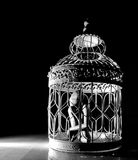 Wooden figurine in a cage Stock Photos