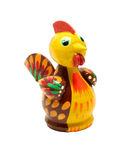 Wooden figurine of rooster. Colourful wooden figurine of rooster, chicken over white royalty free stock images