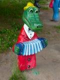 Wooden figurine Russian cartoon hero Crocodile Gena Stock Image