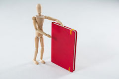 Wooden figurine showing a book Royalty Free Stock Photos