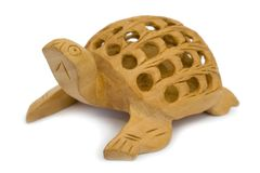 Wooden figurine of turtle Royalty Free Stock Photo