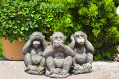 Wooden figurines of monkeys in a Buddhist temple. Pattaya Thailand royalty free stock images