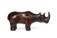 Wooden figurines rhinoceros Stock Photos