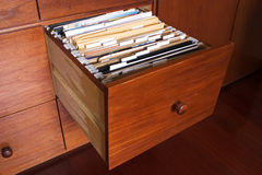 Wooden file cabinet Royalty Free Stock Images