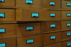 Wooden Filing cabinet. Old vintage wooden filing cabinet with drawers Stock Photo